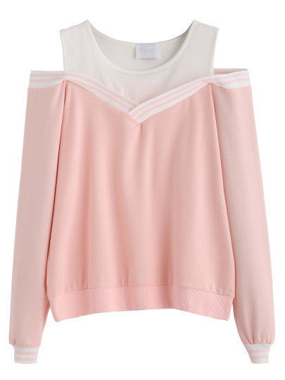 Pink Striped Contrast Open Shoulder Sweatshirt - The Style Syndrome  - 1