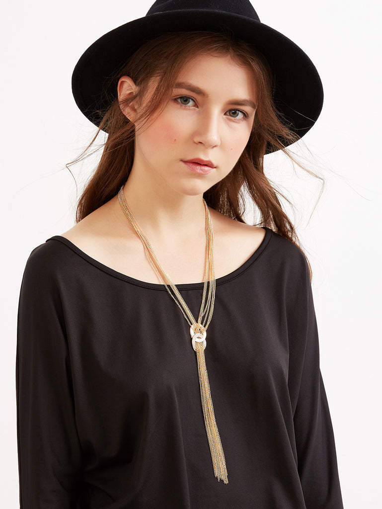 Gold Long Chain Tassel Layered Necklace - The Style Syndrome  - 1