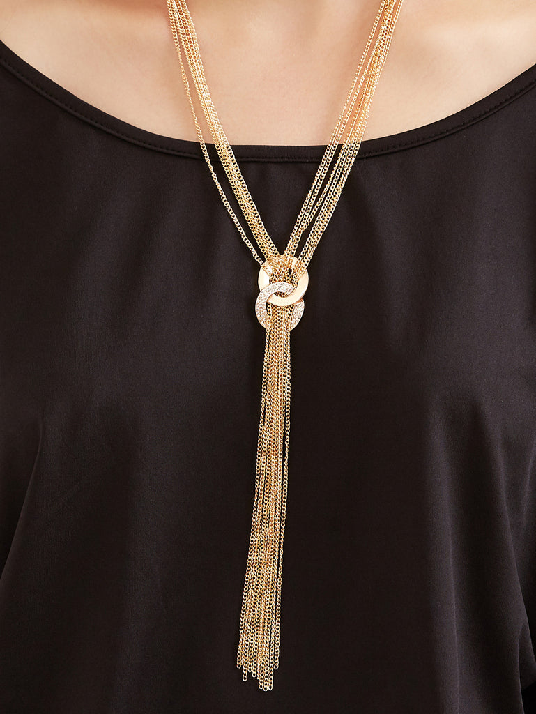 Gold Long Chain Tassel Layered Necklace - The Style Syndrome  - 2