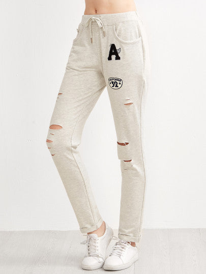 Heather Grey Ripped Drawstring Jersey Pants With Patch - The Style Syndrome  - 1