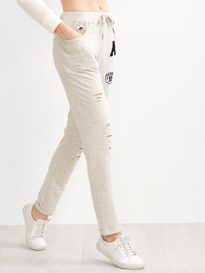 Heather Grey Ripped Drawstring Jersey Pants With Patch - The Style Syndrome  - 2