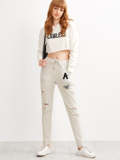 Heather Grey Ripped Drawstring Jersey Pants With Patch - The Style Syndrome  - 4