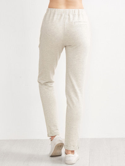 Heather Grey Ripped Drawstring Jersey Pants With Patch - The Style Syndrome  - 3