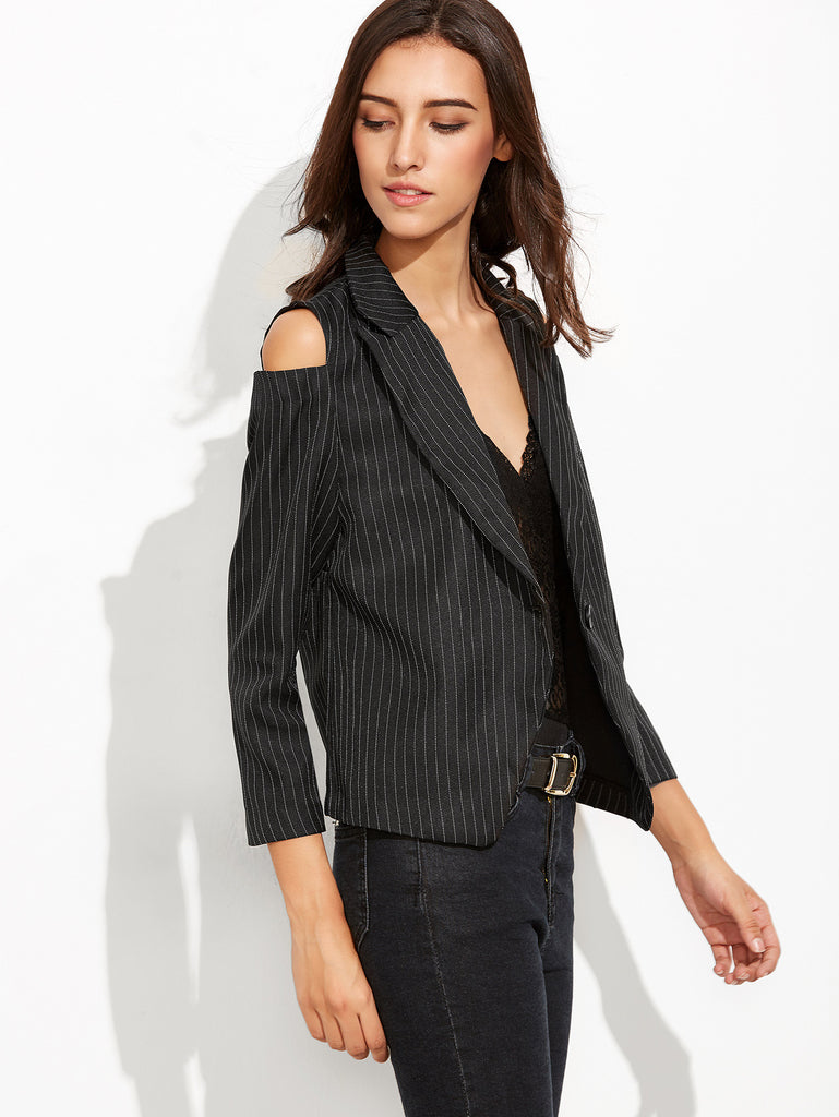 Black Vertical Striped Open Shoulder Single Button Blazer - The Style Syndrome  - 2