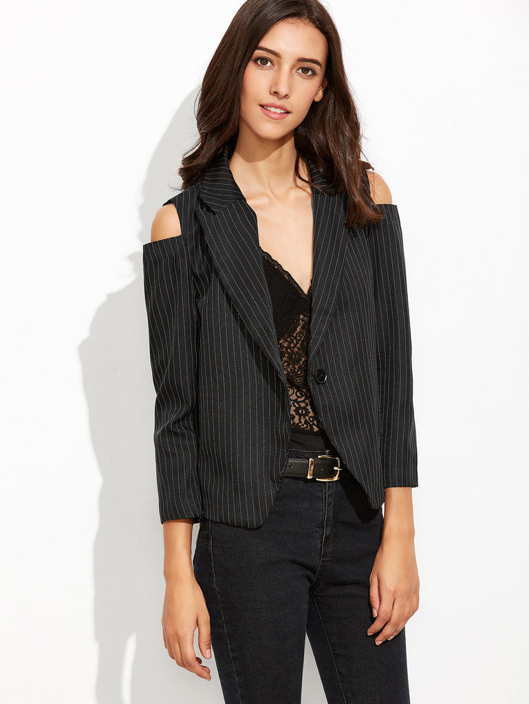 Black Vertical Striped Open Shoulder Single Button Blazer - The Style Syndrome  - 4