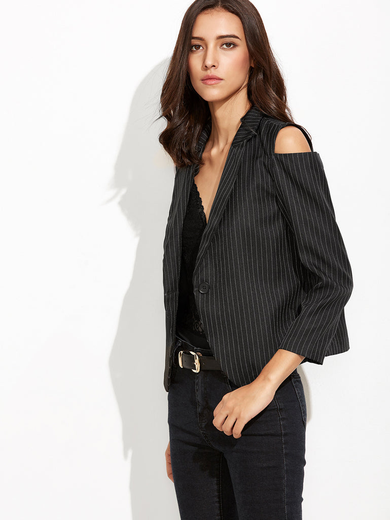 Black Vertical Striped Open Shoulder Single Button Blazer - The Style Syndrome  - 3