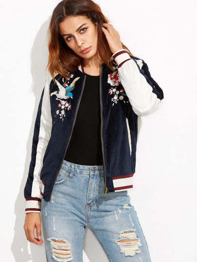 Navy Embroidery Bomber Jacket Whith Zipper - The Style Syndrome  - 2