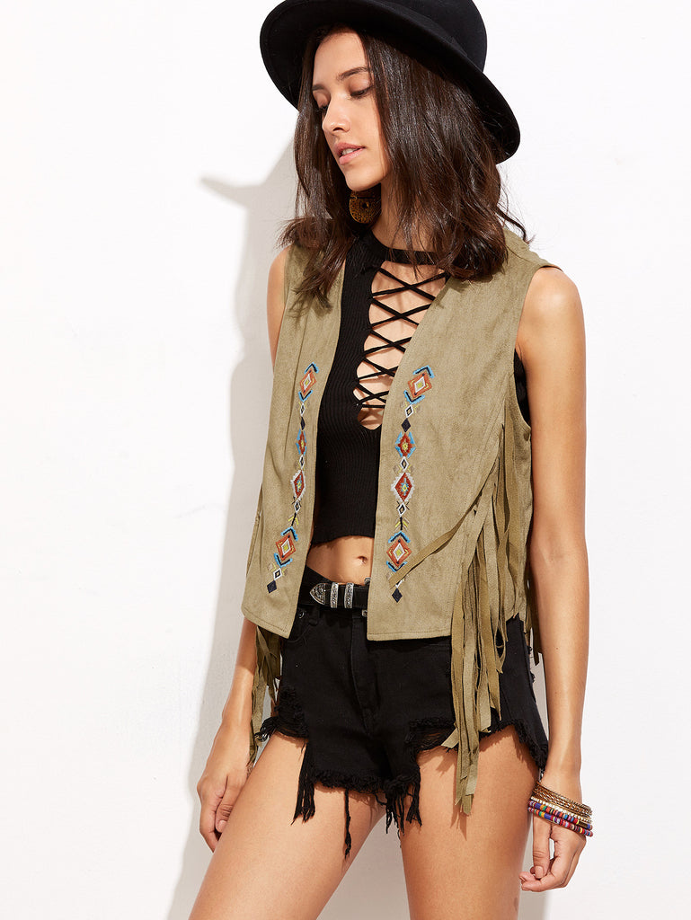 RZX Brown Sleeveless Embroidery Tassel Cardigan Outerwear - The Style Syndrome  - 1