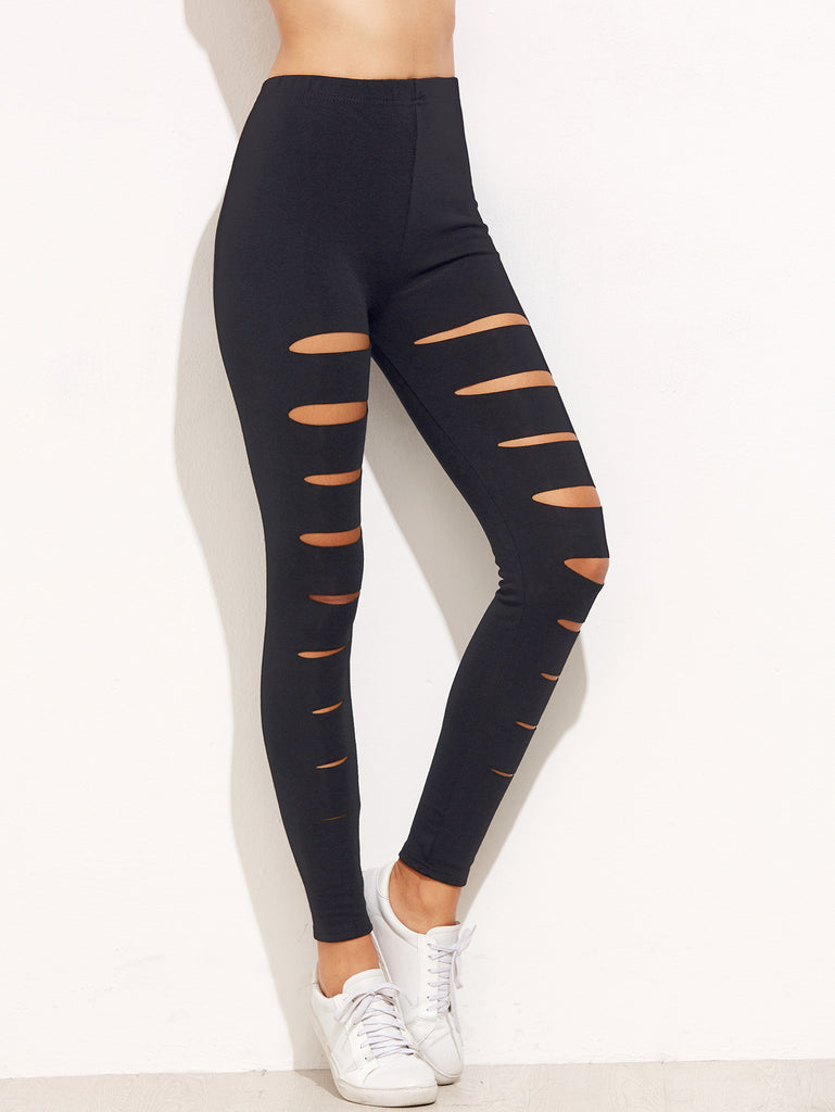 Black Ripped Skinny Leggings - The Style Syndrome  - 1