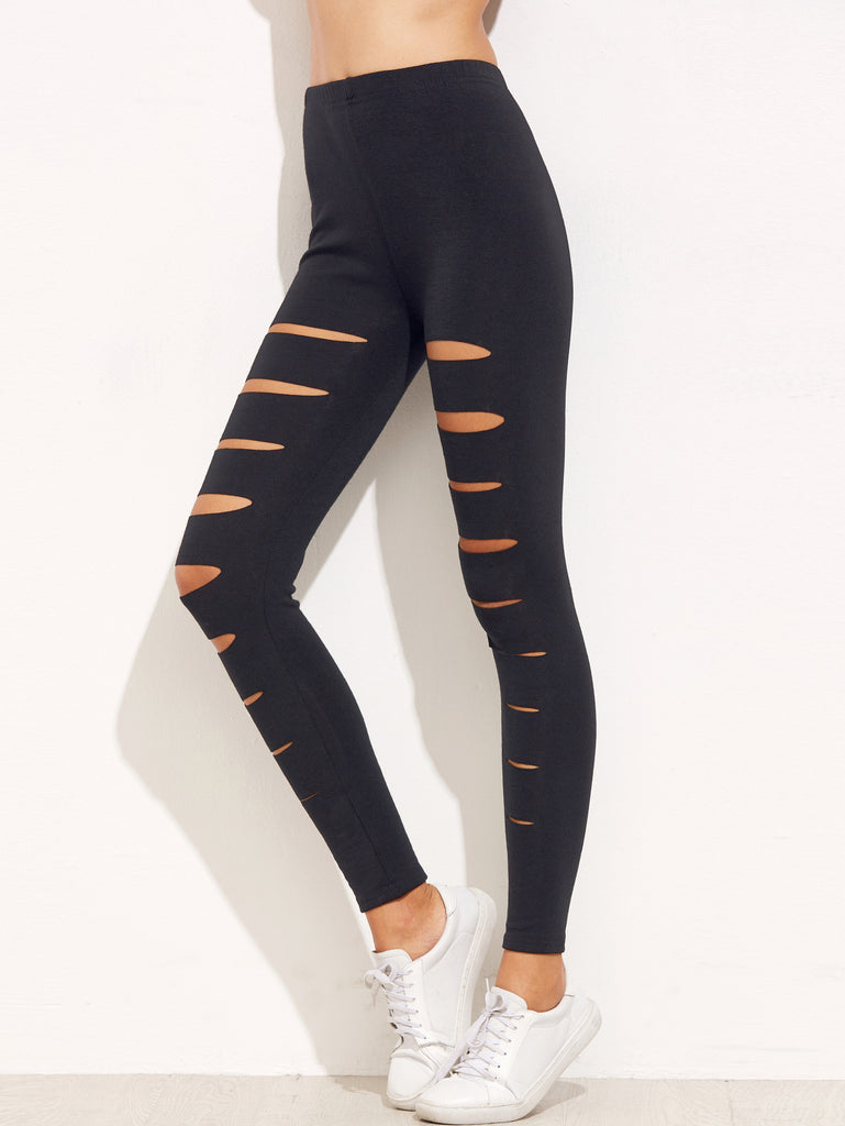 Black Ripped Skinny Leggings - The Style Syndrome  - 2