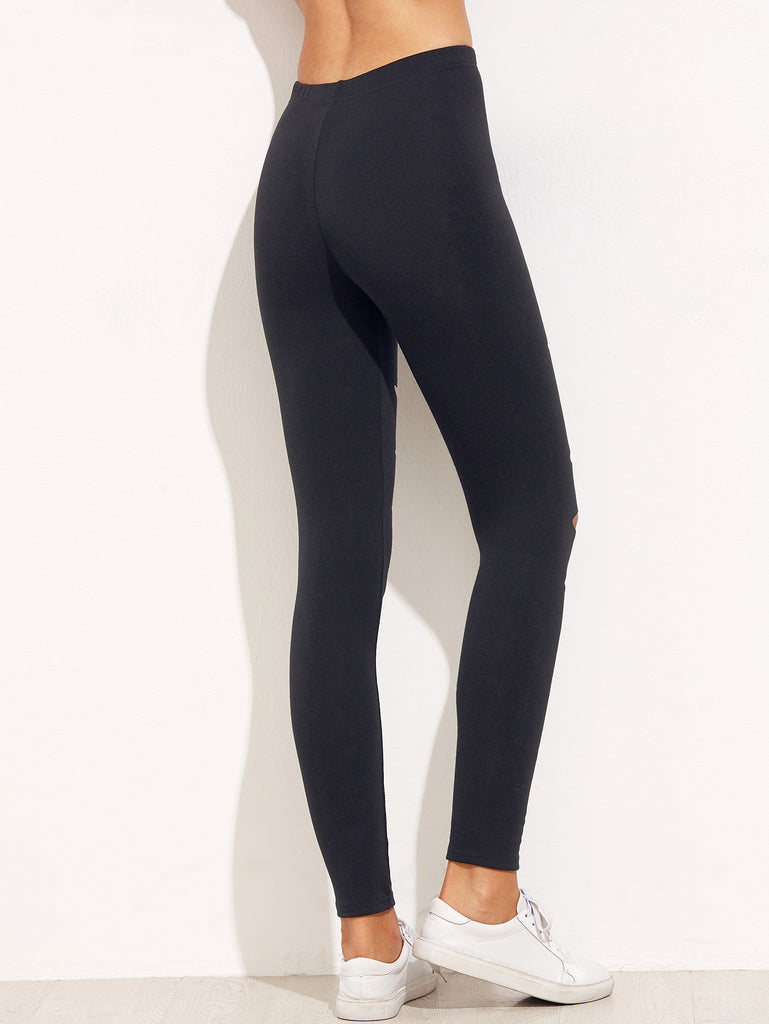 Black Ripped Skinny Leggings - The Style Syndrome  - 3