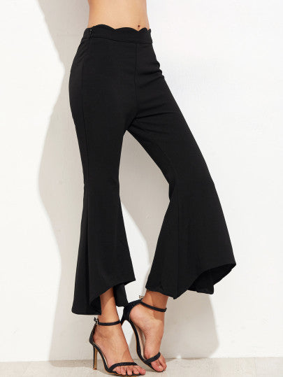 Black Scallop Waist Asymmetric Flared Pants - The Style Syndrome  - 1