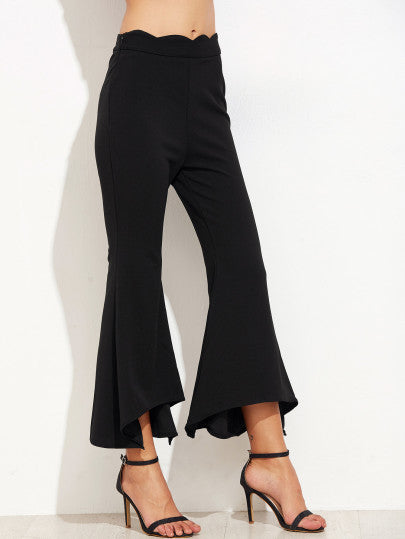 Black Scallop Waist Asymmetric Flared Pants - The Style Syndrome  - 2