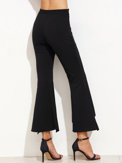 Black Scallop Waist Asymmetric Flared Pants - The Style Syndrome  - 3