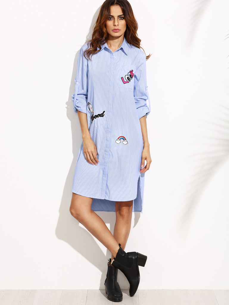 Blue Striped Hidden Button Shirt Dress With Lovely Patch - The Style Syndrome  - 2