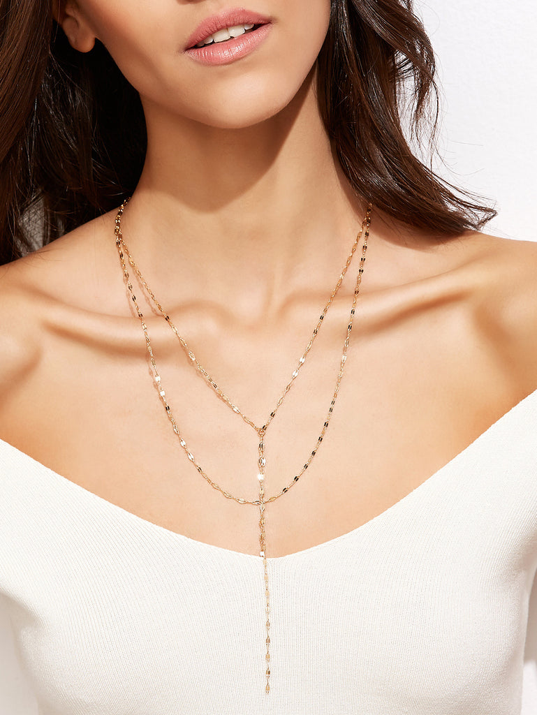 Gold Plated Layered Y Necklace - The Style Syndrome  - 2