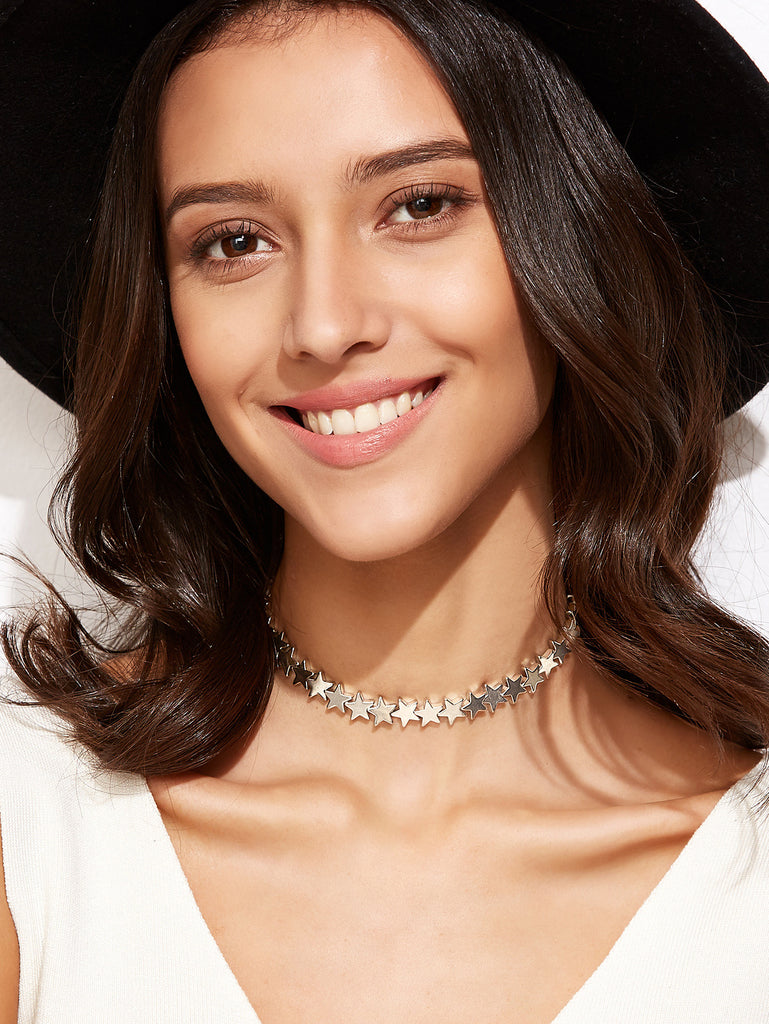 Silver Plated Star Choker Necklace - The Style Syndrome  - 1
