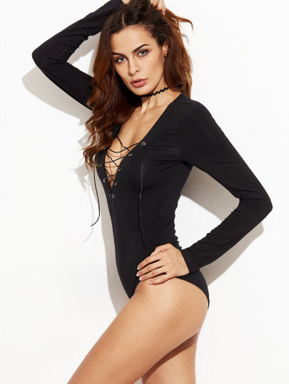 RZX Black Lace Up Plunge Neck Long Sleeve Bodysuit