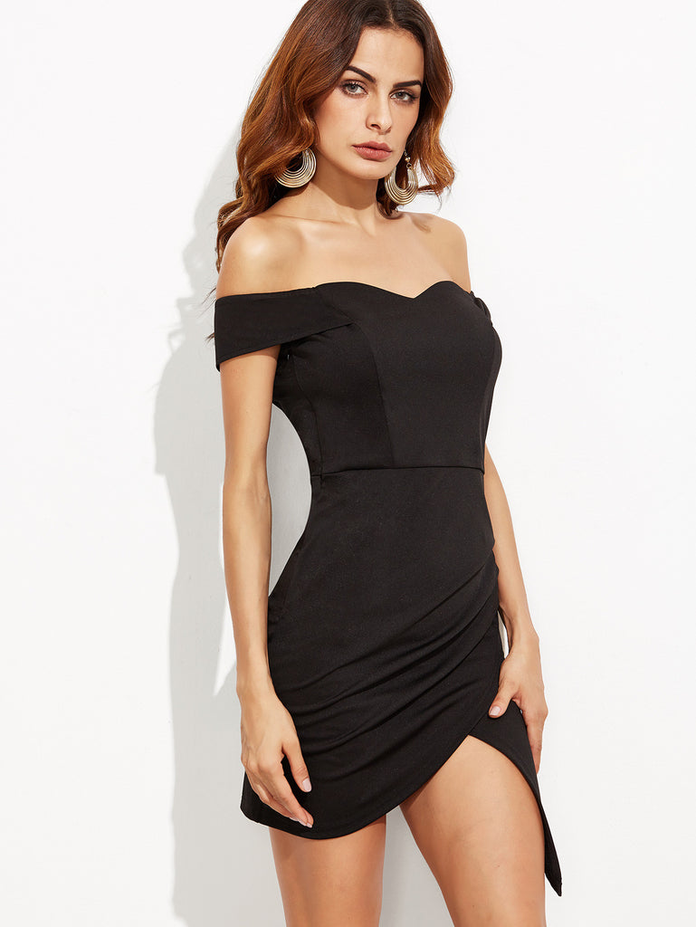 Black Off The Shoulder Ruched Wrap Dress - The Style Syndrome  - 2