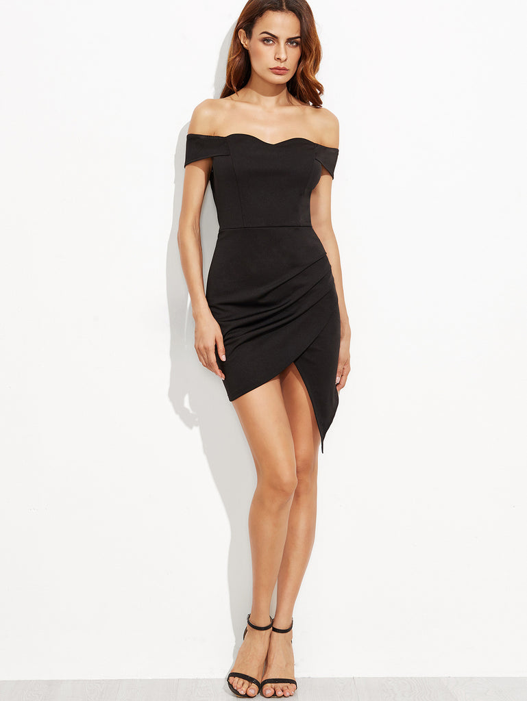 Black Off The Shoulder Ruched Wrap Dress - The Style Syndrome  - 4