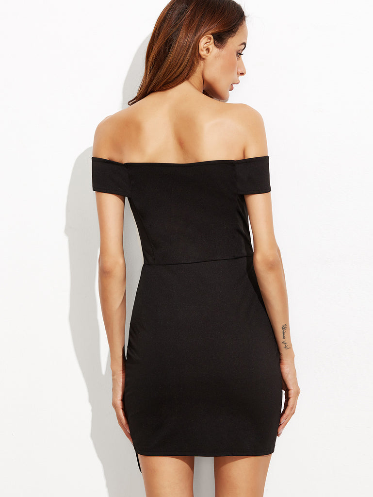 Black Off The Shoulder Ruched Wrap Dress - The Style Syndrome  - 3