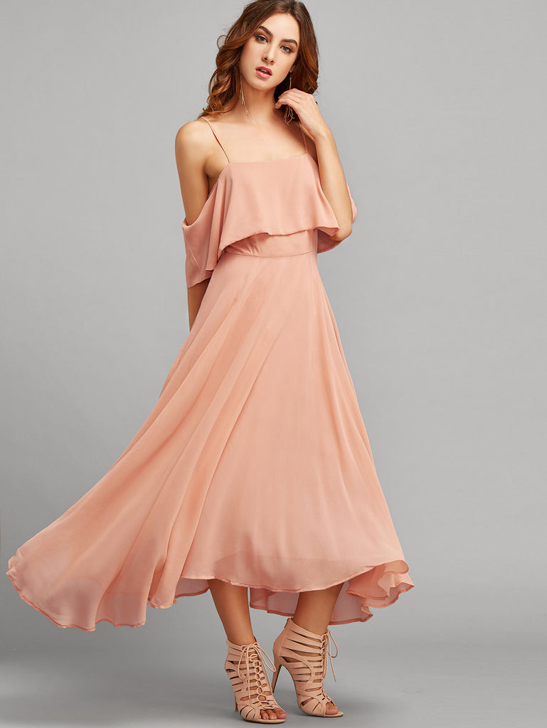 Pink Spaghetti Strap Ruffle Dress - The Style Syndrome  - 1