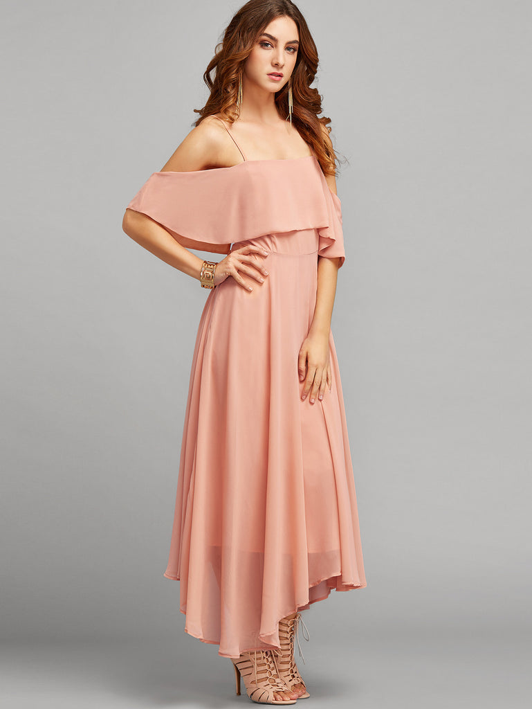 Pink Spaghetti Strap Ruffle Dress - The Style Syndrome  - 2