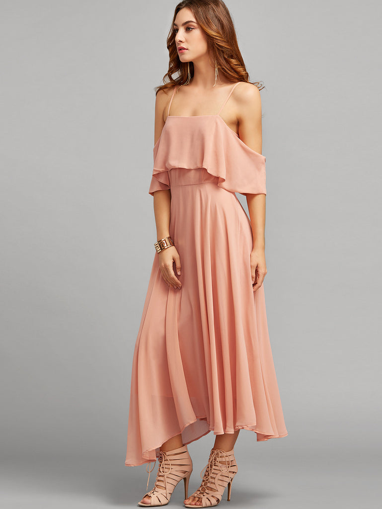 Pink Spaghetti Strap Ruffle Dress - The Style Syndrome  - 3