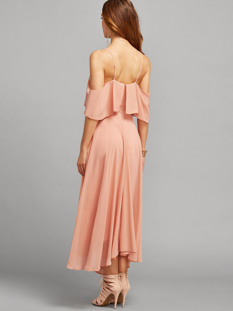 Pink Spaghetti Strap Ruffle Dress - The Style Syndrome  - 4