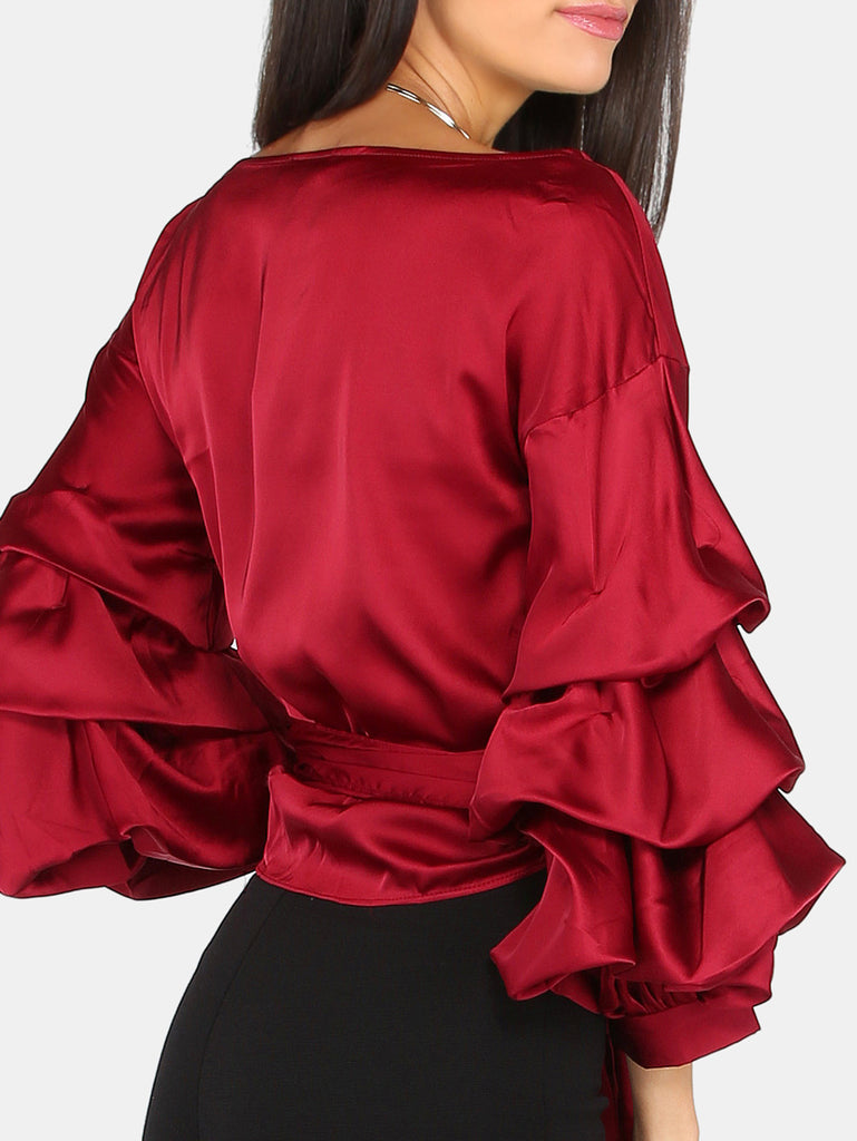 Billow Sleeve Wrap Top WINE - The Style Syndrome