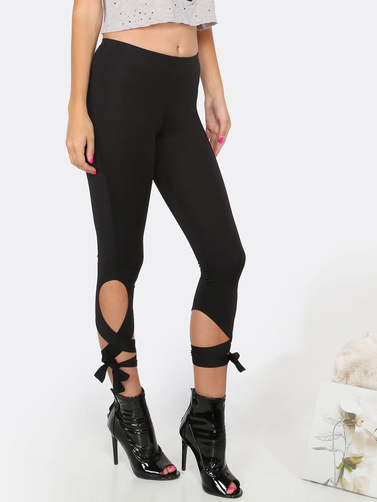 Lace Up Capri Leggings BLACK - The Style Syndrome  - 1