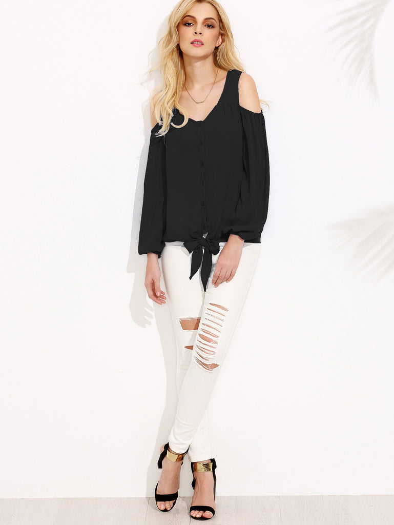 Black Open Shoulder Lantern Sleeve Tie Front Blouse - The Style Syndrome  - 4