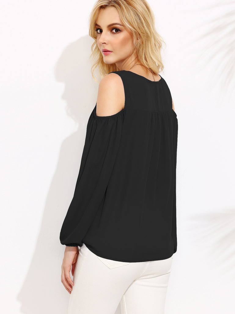 Black Open Shoulder Lantern Sleeve Tie Front Blouse - The Style Syndrome  - 3