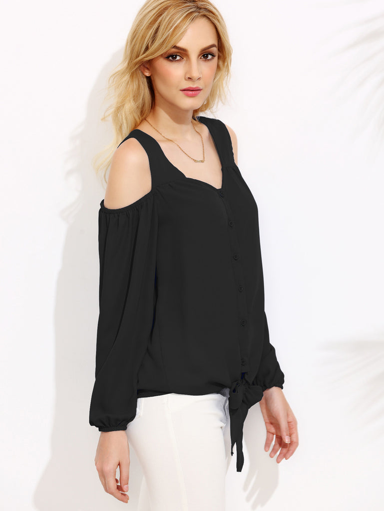 Black Open Shoulder Lantern Sleeve Tie Front Blouse - The Style Syndrome  - 2