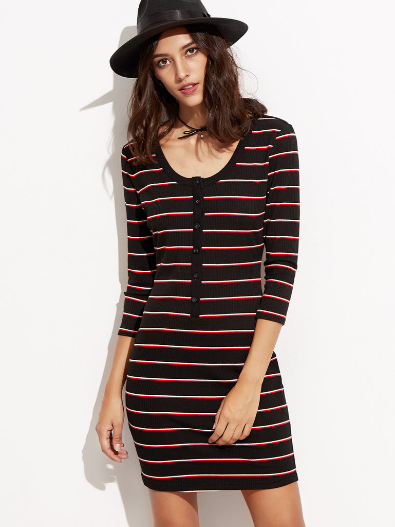 Black Striped Button Front Ribbed Sheath Dress - The Style Syndrome  - 1