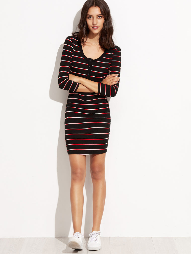 Black Striped Button Front Ribbed Sheath Dress - The Style Syndrome  - 4