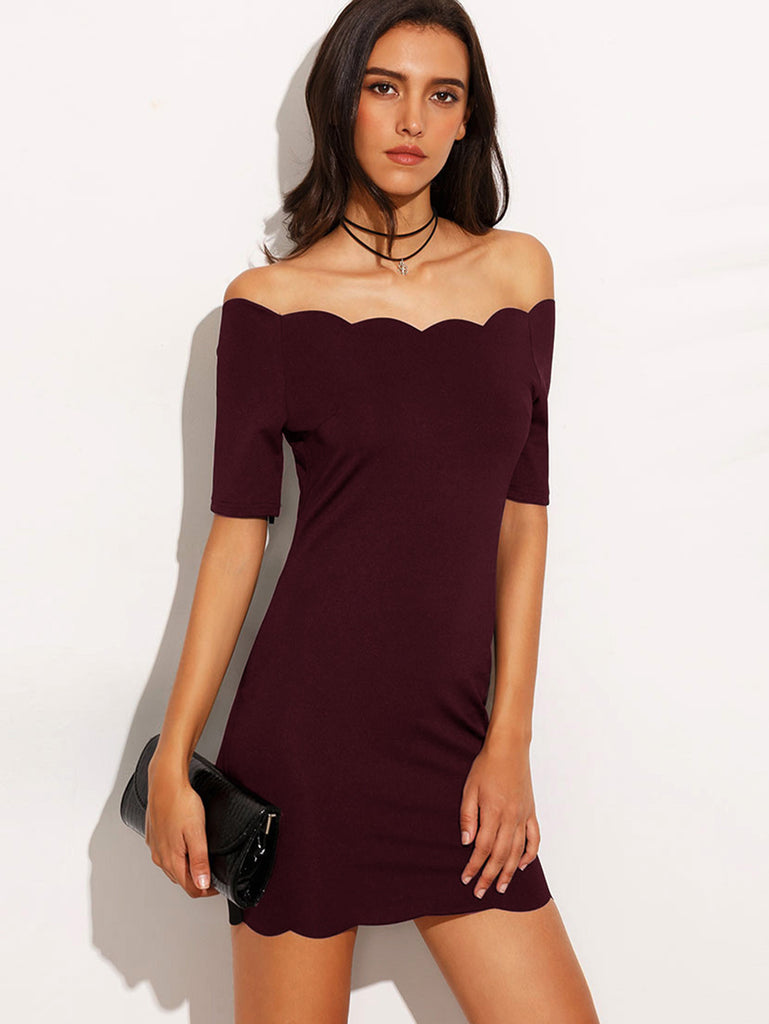 Burgundy Scallop Trim Off The Shoulder Bodycon Dress - The Style Syndrome  - 1