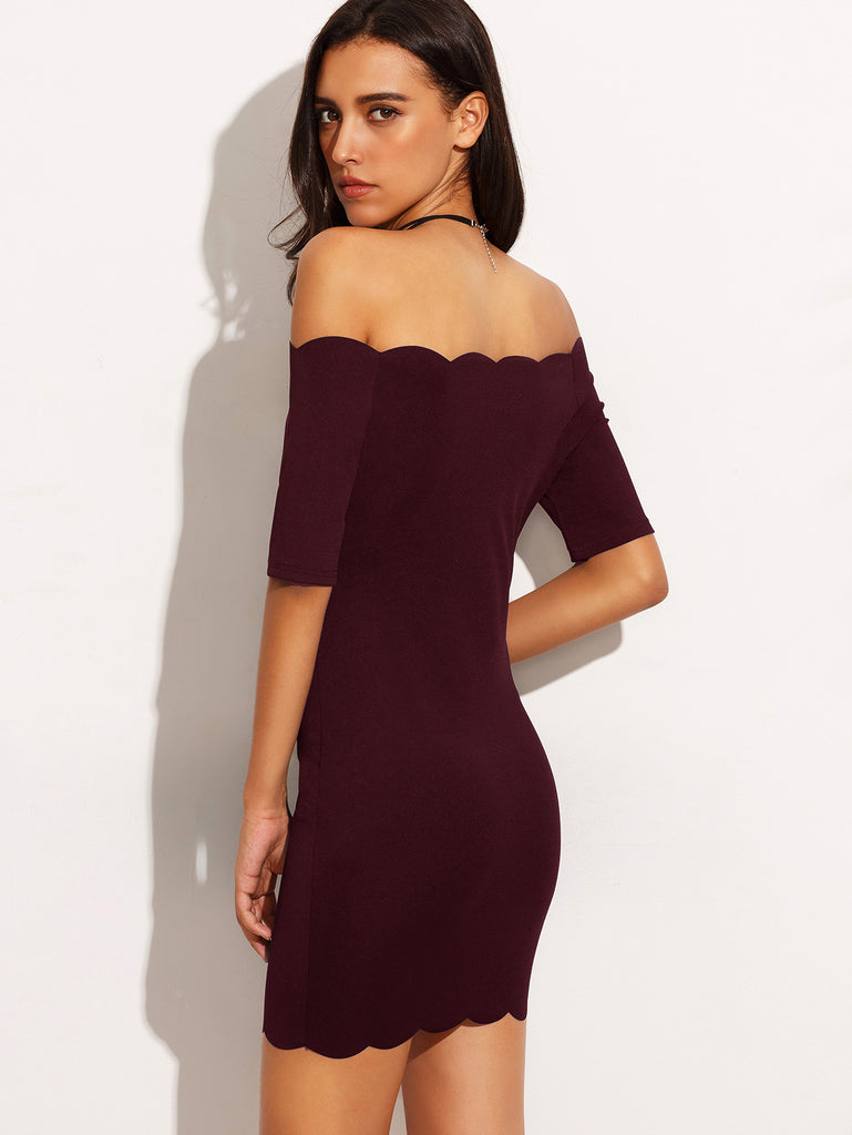 Burgundy Scallop Trim Off The Shoulder Bodycon Dress - The Style Syndrome  - 4