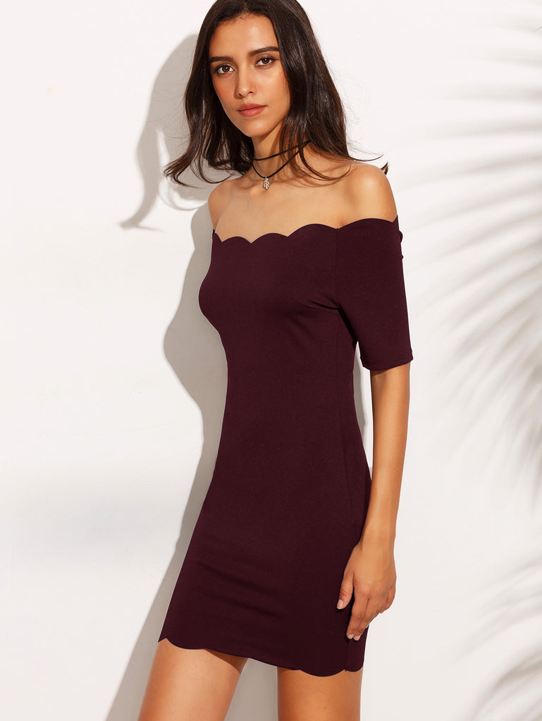 Burgundy Scallop Trim Off The Shoulder Bodycon Dress - The Style Syndrome  - 3