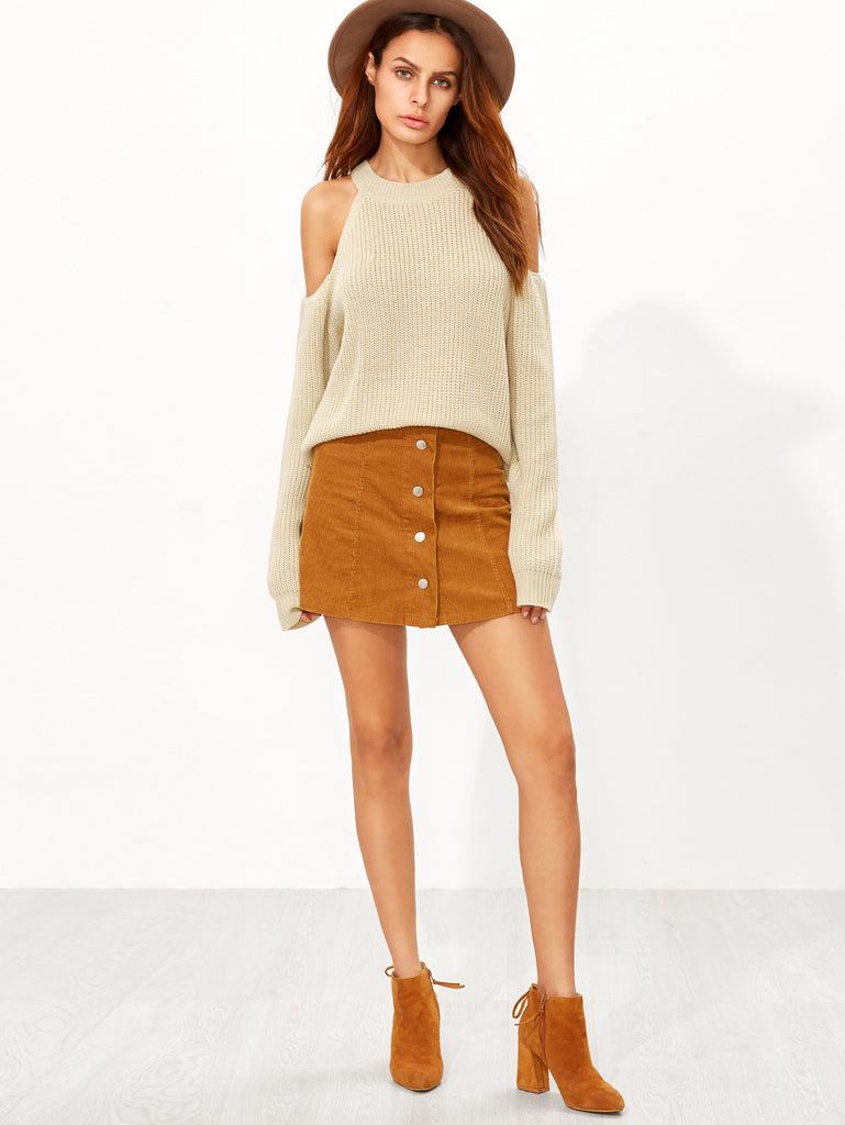 Apricot Cold Shoulder Sweater - The Style Syndrome