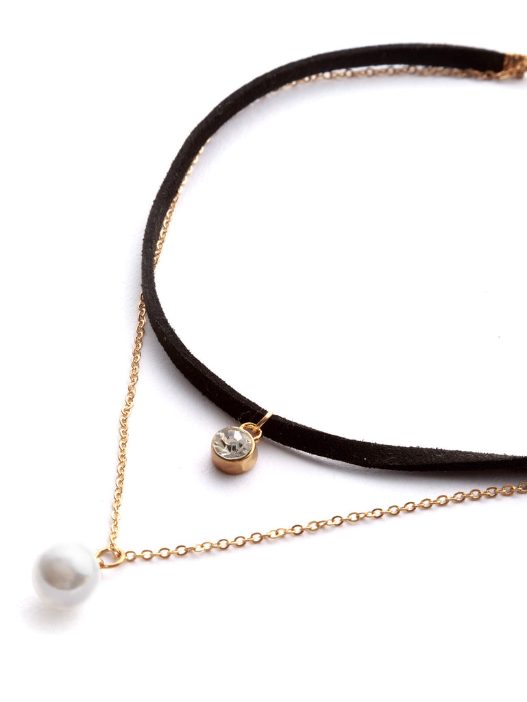 Black Rhinestone And Faux Pearl Pendant Layered Choker - The Style Syndrome
