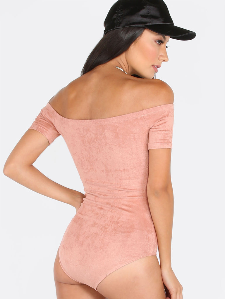 Pink Off The Shoulder Ribbed Bodysuit - The Style Syndrome  - 3