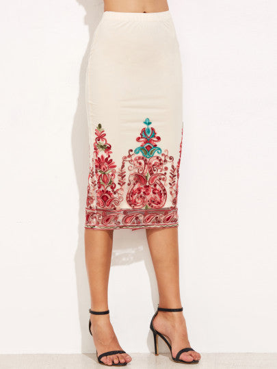 White Embroidered Mesh Overlay Pencil Skirt - The Style Syndrome  - 1