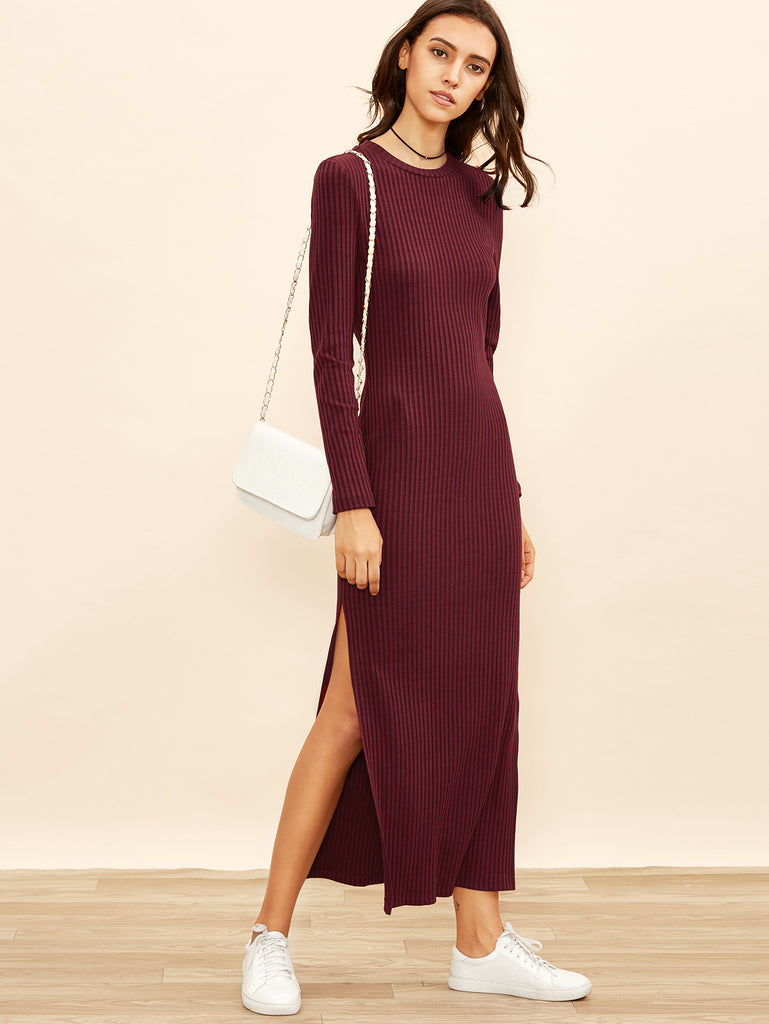Burgundy Long Sleeve High Slit Ribbed Dress