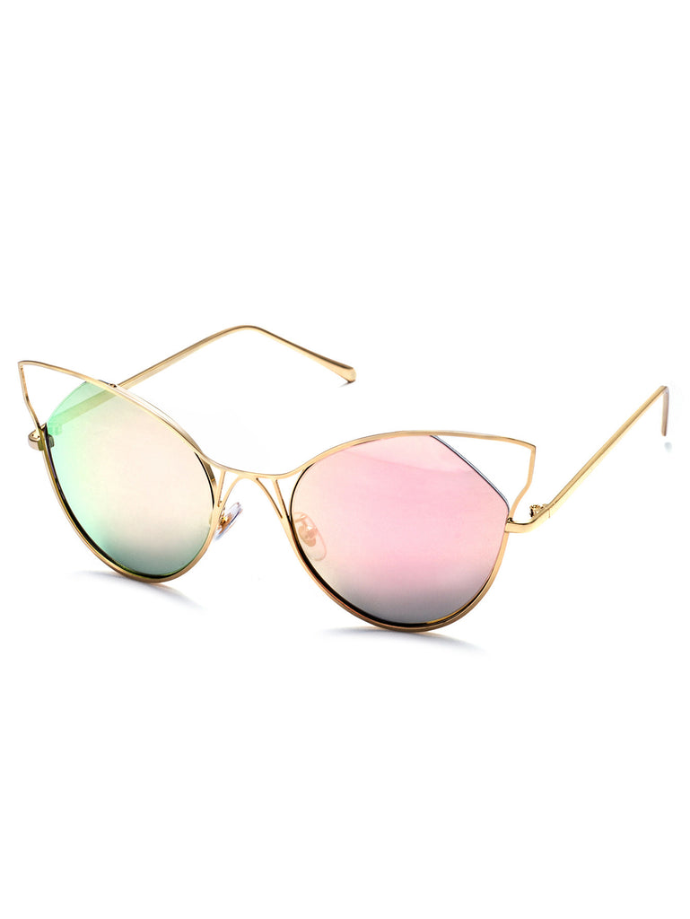 Gold Frame Pink Cat Eye Sunglasses RZX