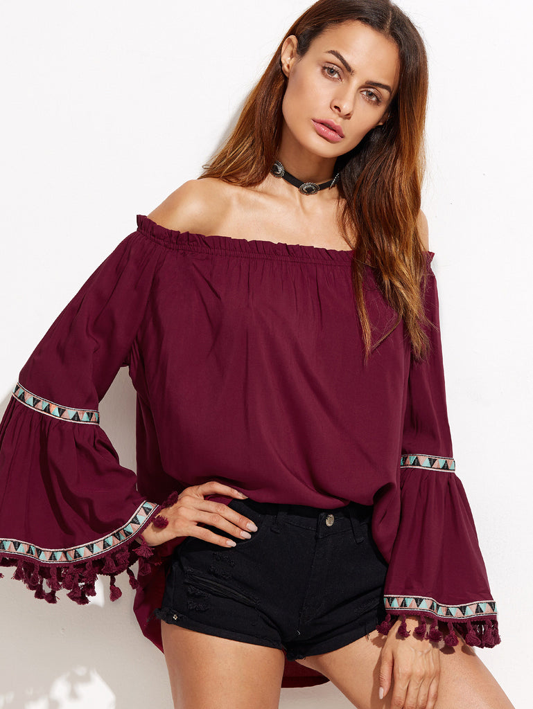 Burgundy Off The Shoulder Fringe Embroidered Blouse - The Style Syndrome  - 1