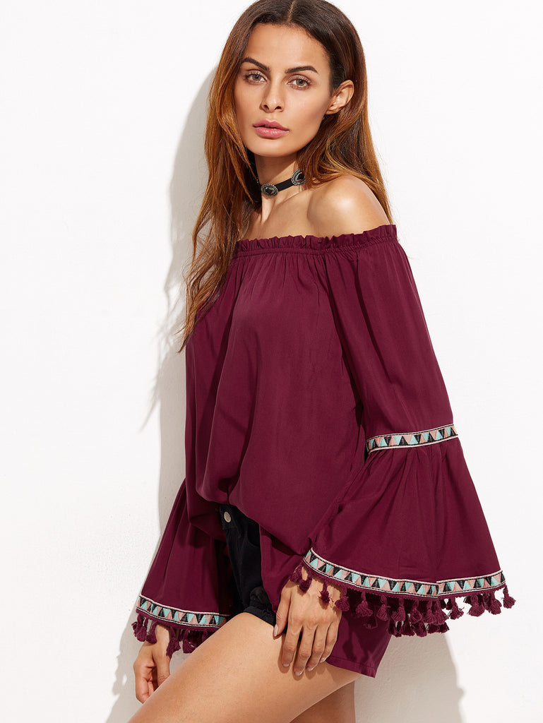 Burgundy Off The Shoulder Fringe Embroidered Blouse - The Style Syndrome  - 3