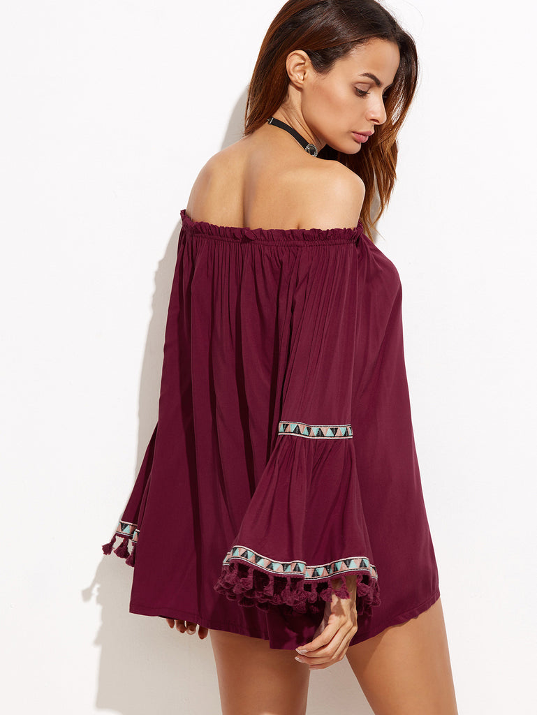 Burgundy Off The Shoulder Fringe Embroidered Blouse - The Style Syndrome  - 4