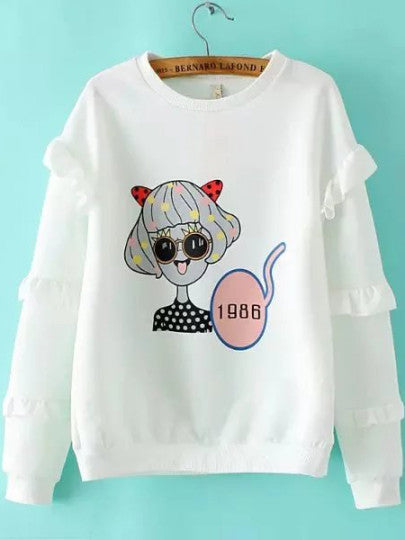 White Cartoon Print Ruffle Sleeve Sweatshirt - The Style Syndrome  - 1