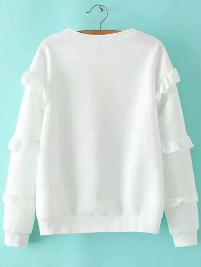 White Cartoon Print Ruffle Sleeve Sweatshirt - The Style Syndrome  - 2